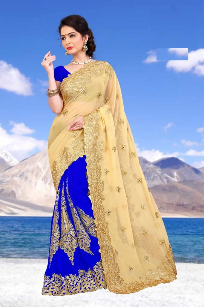 buy saree online Blue Colour Heavy Embroidered Georgette Saree and Blouse Buy Saree online - Buy Sarees online