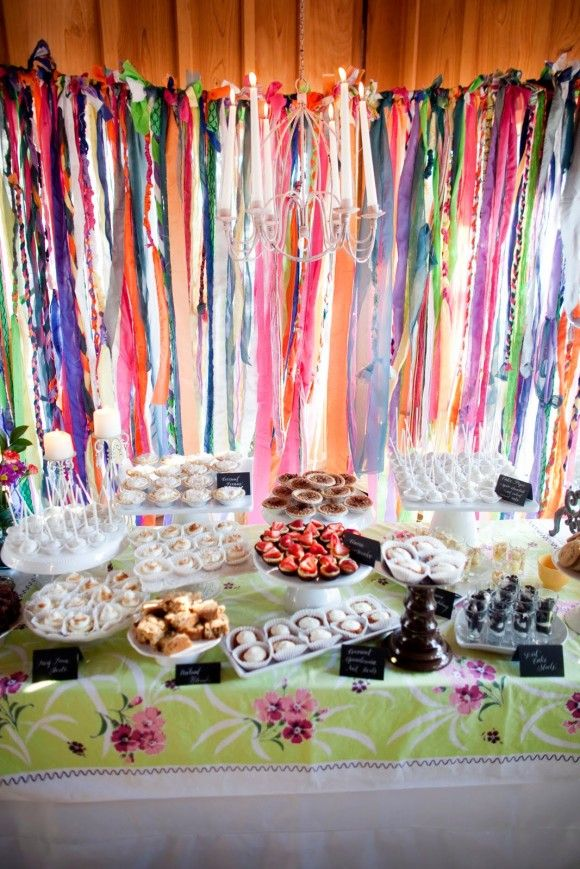 fun fun and fun: Desserts Buffet, Recipes Cards, Desserts Bar, Wedding Reception, Homemade Desserts, Parties Ideas, Ribbons Backdrops, Desserts Tables, Parties Decor