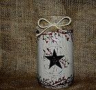 primitive mason jar black star crackle decor pip berry shelf sitter ornie burlap - #Black, Berry, BURLAP, crackle, décor, mason, ornie, Primitive, shelf, sitter, star