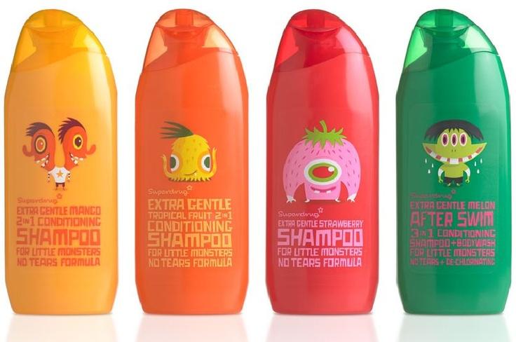 Superdrug Little monsters shampoo packaging
