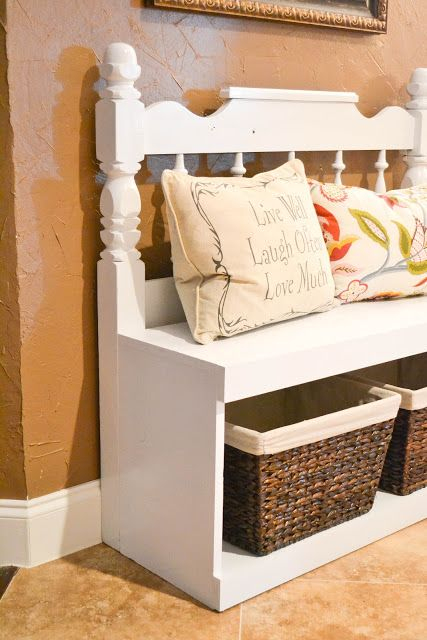 DIY Headboard Bench. (can be used with any size headboard) Make for front door entrance and/or laundry room!
