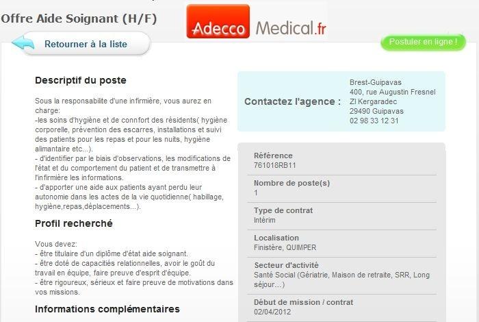 Aide Soignant (H/F) Finistère, QUIMPER