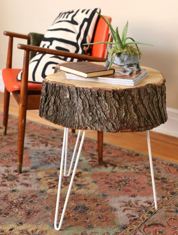 Tree Stump End Table Hairpin Legs