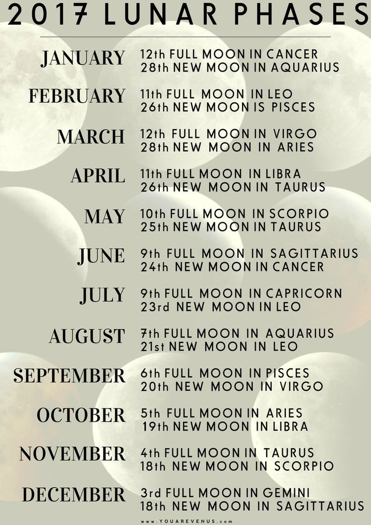 2017 moon phase chart (full + new moons) with specific astrological sign. See which house of your chart the astrological sign falls in to get a sense of the moons effect.
