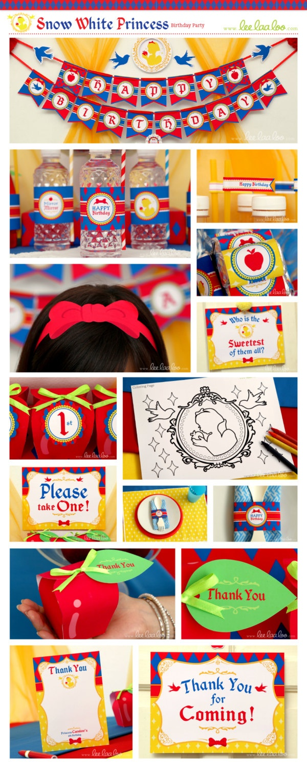 Snow White Birthday Party Package Personalized Printable Design by leelaaloo.com