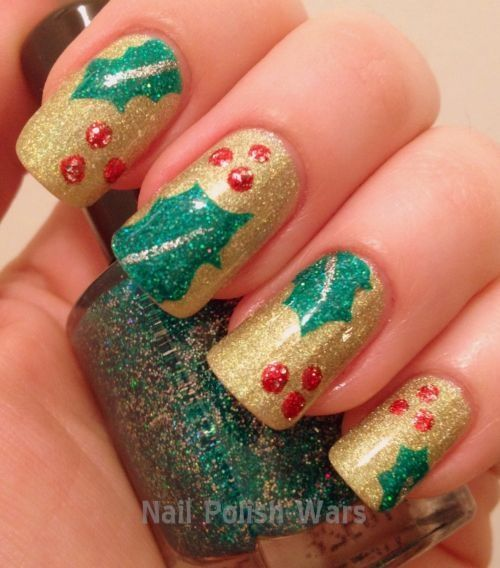 Happy Holidays nails with holly design