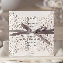 20 pz floral design inviti puro amore da sposa con fiocco in bianco elegante carte di nozze(China (Mainland))