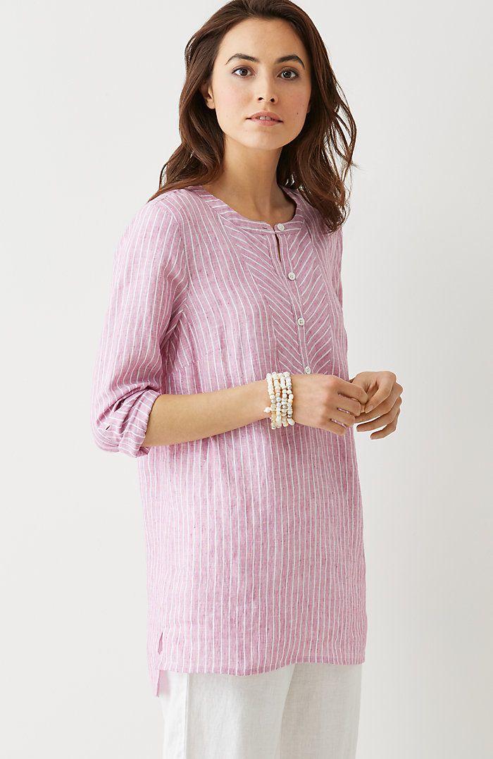 linen mixed-stripes tunic