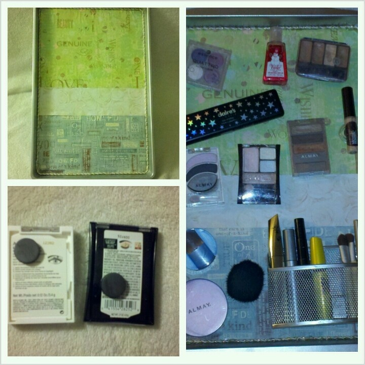 Made my own cookie sheet magnet makeup board #diy