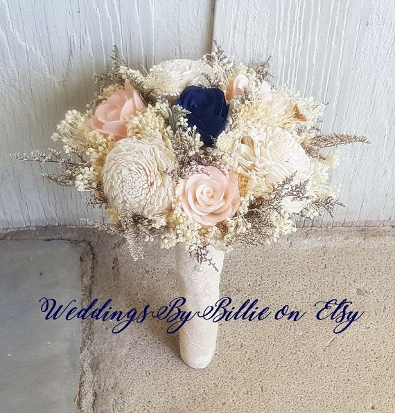 Navy Blush Ivory Sola Bouquet Fall Bouquets by WeddingsByBillie