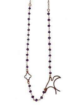 Χειροποίητο κολιέ από ροζ επιχρυσωμένο ασήμι 925ο με ασημένιο σταυρό, χειροποίητο μενταγιόν χελιδόνι και link chain με αμέθυστο @ http://www.theodorajewellery.com/jewel/gr/2064/ Μήκος κολιέ: 42 cm+3cm προέκταση Τιμή 35€  Handmade necklace made from gold plated silver 925o with link chain amethyst and thin chain,cross pendant 9x9mm and swallow pendant 20x25mm made of gold plated silver @ http://www.theodorajewellery.com/jewel/en/2064/ Necklace length: 40cm +3cm silver chain extension. Price…