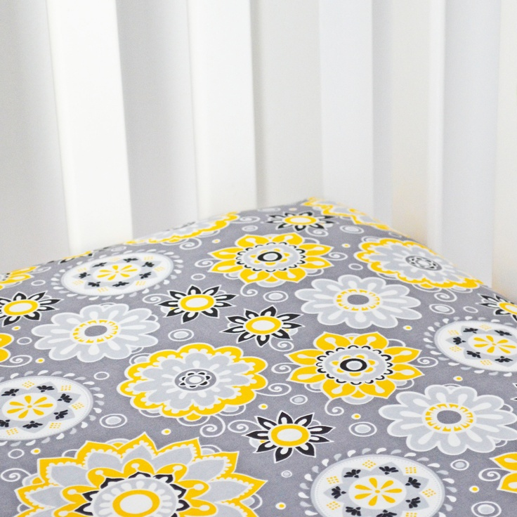 Grey and Yellow Patterned Crib Sheet