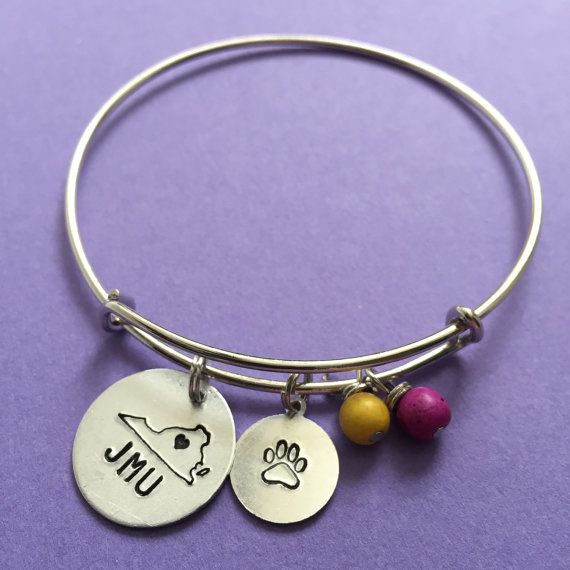 JMU Duke Dog Love - Virginia Bangle with Duke Dog Paw Print Charm - James Madison University Bangle - JMU Dukes Bangle - JMU Bracelet