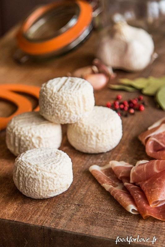 """PARMA HAM, GARLIC & SPICE-INFUSED GOAT CHEESE ~~~ while the above application can be used on any goat cheese, the blogger chose to share her dance with """"crottin de chavignol"""". crottin is an unforgettably sublime nutty goat cheese from the loire valley. [France] [foodforlove]"""
