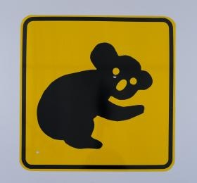 Road sign, 'Koala' sign, painted aluminium, made by Artcraft for the Roads and Traffic Authority, Australia, 1999-2000.