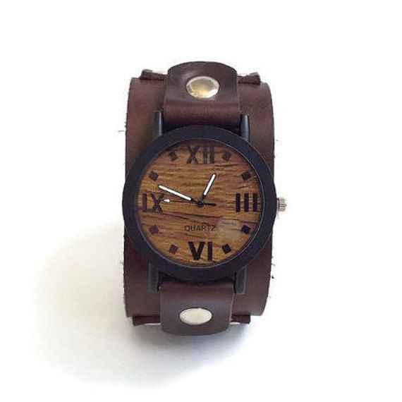 Wood watch for men Leather cuff watch wooden by DodoLeather