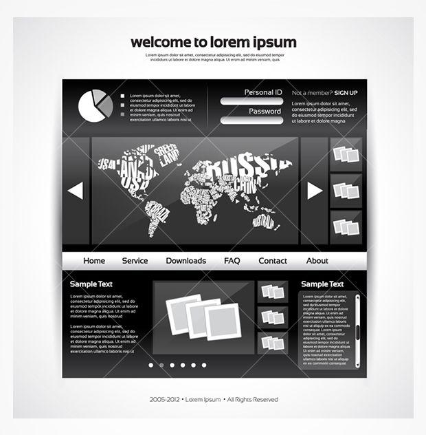 New world map website PSD template!