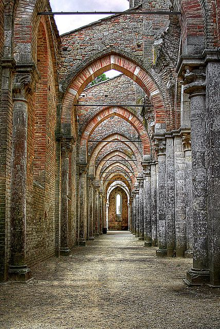 Beautiful stone arches, San Galgano, Italy