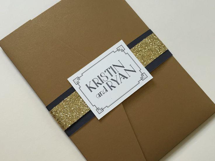 Art Deco wedding invitations, black and gold wedding invitations, gold wedding invites - Hello Beautiful Designs