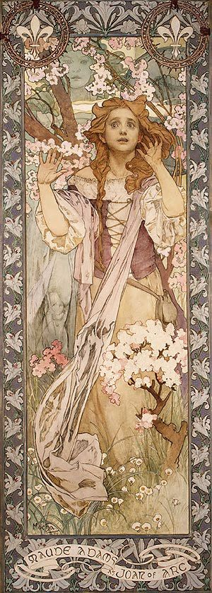 Maude Adams as Joan of Arc by Alphonse Mucha. Painted in Chicago in 1909, it was displayed as a poster for the 'one night only' Harvard University gala performance on June 22, 1909. Mucha also designed the costumes, sets and supervised the direction. Afterwards, at the actress's request, the painting served as the lobby poster for the Empire Theater in New York, where Adams regularly performed