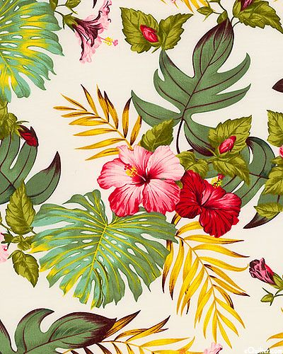 Hawaiian printed fabric ~ In aim of creating the perfect Hawaiian themed bed room for Avalon.