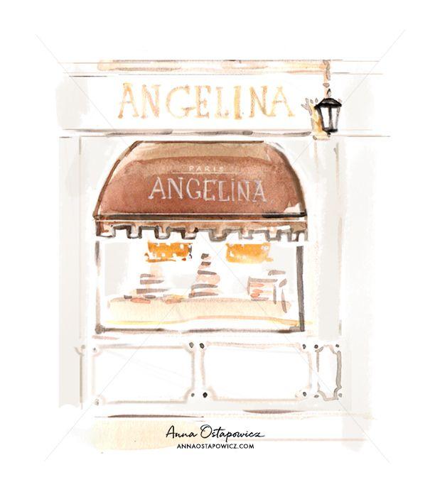 Angelina Paris, Illustration Anna Ostapwoicz, #patisserie, #boutique, #paris, #chocolat