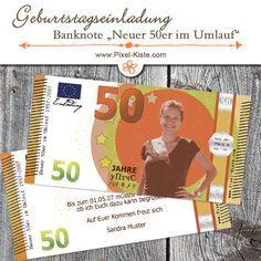 """Geburtstagseinladung 50 Euro Banknote """"neuer fünfziger im Umlauf""""  #Einladungen #Geburtstag #Geldschein #Banknoten"""