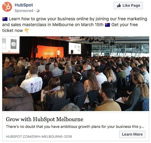 Facebook Ad for Learn how to Grow your Business Online with Hubspot