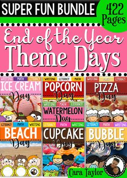 This super fun bundle is a collection of all my End of the Year, Theme Days.  Included are 7 units, or a total of 422 pages of ultimate fun!  Included are the following units:Watermelon DayPopcorn DayBeach DayPizza DayCupcake DayIce Cream DayBubble DayThe units are similar, mostly containing the following components:Schema Anchor Charts with Recording SheetsInformational Article in Color and Black and WhiteComprehension Printables for ArticlePoetry Selection(s) in Color and Black and…