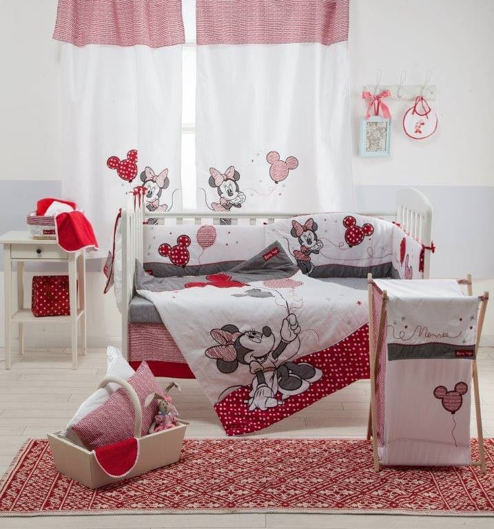 Disney Red Minnie Mouse 4-Piece Crib Bedding Set.