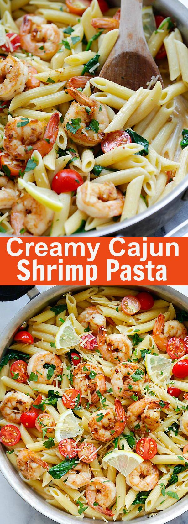 Cajun Shrimp Pasta – crazy delicious creamy pasta with cajun shrimp, spinach and Parmesan cheese. Dinner takes 20 mins and so good | rasamalaysia.com