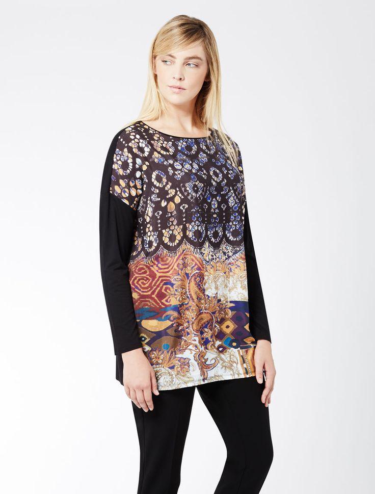 Marina Rinaldi VASO nero: T-shirt in jersey e tessuto stampato.