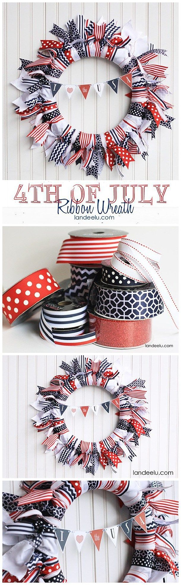 Easy DIY Red, White and Blue 4th of July Ribbon Wreath with cute and free printable patriotic mini bunting!
