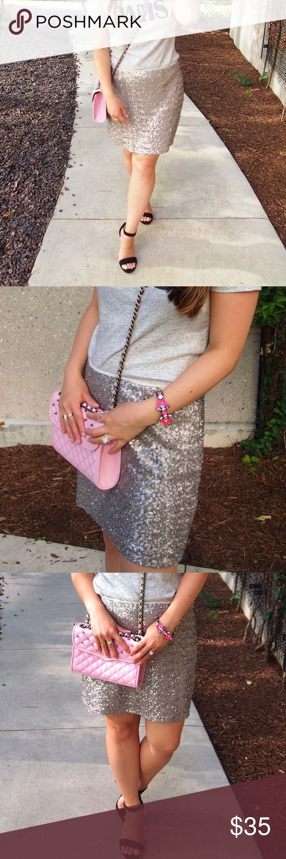 Silver Sequin Mini Skirt Gorgeous silver sequin mini skirt with cream lining. Worn a couple of times, excellent condition! GAP Skirts Mini