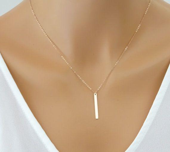 Parfait en argent, or, Or Rose Bar collier, collier, barre verticale sur chaîne en argent Sterling, délicat Collier Collier en couches, Skinny
