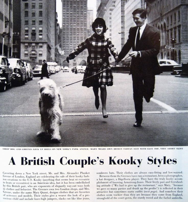 From Life Magazine, 1961. Quant and Plunket Greene run down Park Avenue with a sheep dog. Behind them is the Helmsley Hotel and the Park Ave. entrance to Grand Central Terminal. The space behind that would within a year be occupied by the Pan Am Building (now the MetLife Building).