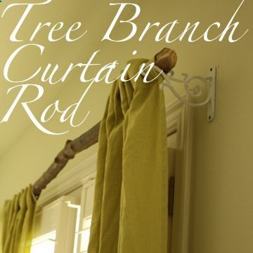 Tree branch curtain rods would be awesome for hunting lodge decor                                                                                                                                                     More