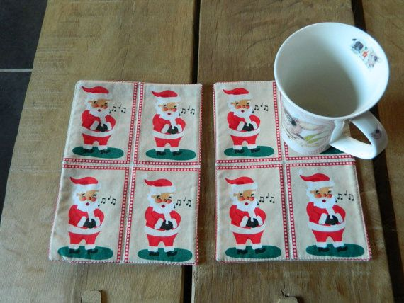 Two Santa Mug Rugs, Christmas Cup Mats, Xmas Cup Coasters, Candle Trivets, Snack Mats, Mini Quilts, Santa lovers gift, Coffee and Tea mats,