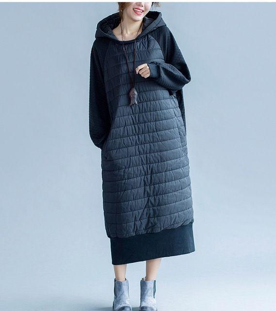 2016 Новых Зимних Женщин Плюс Размер Теплый Платье Мода Черный Лоскутное макси Длинное Платье О Шеи Полный Рукав Свадебные Платья Платья С Hat