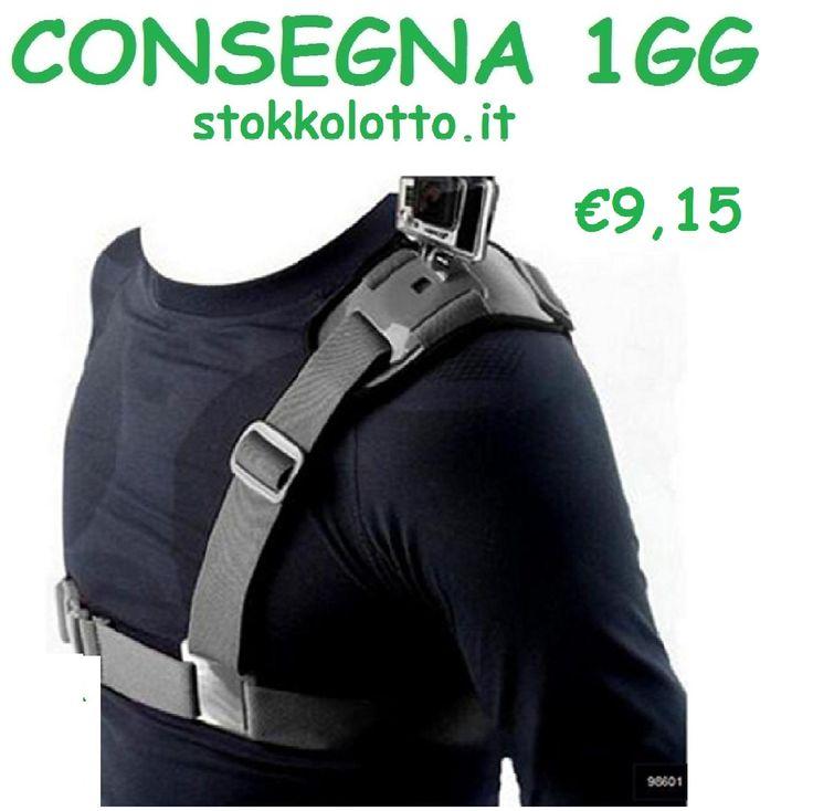 Bretella monospalla imbracatura spalla attacco petto pettorina cintura fascia elastica per gopro hero 3 4 5 session sjcam sj4000 sj5000 xiaomi yi Nilox ....
