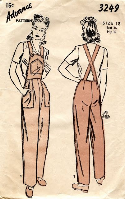 ww2 uniform pattern | Advance 3249 - Overalls