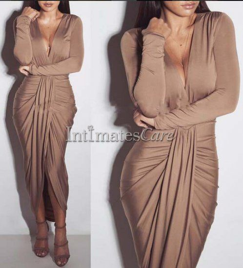 $18.99 Nude Long Sleeve Midi Wrap High Low Bodycon Dress