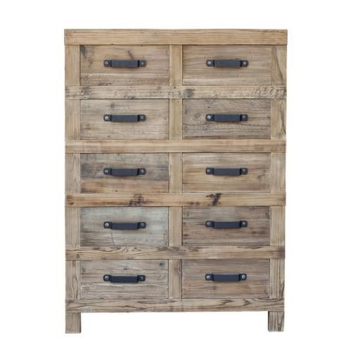 Stunning 10 drawer cabinet is made from recylced Elm with a natural finish. Available with many matching pieces.