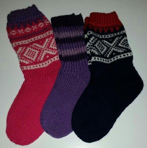 Wool socks with norwegian Marius pattern