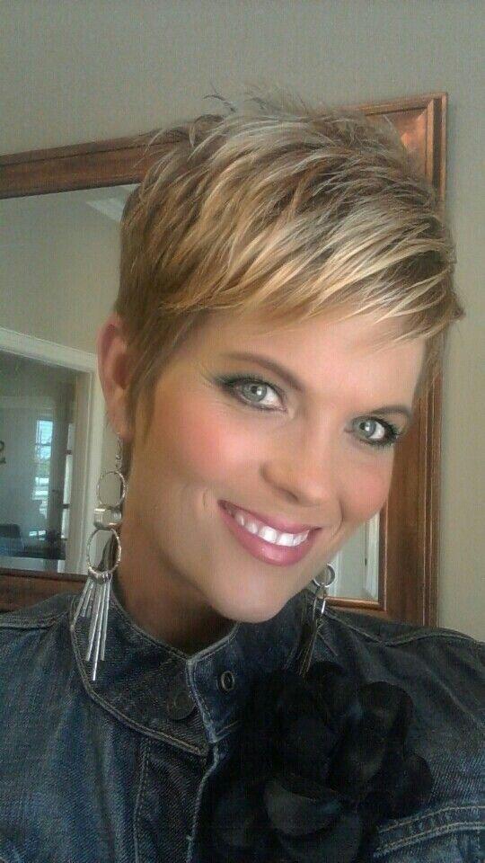 Pixie cut. Fr black hair to blonde.
