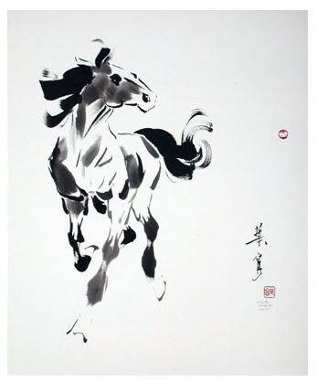 Chinese brush painting of a horse by Ning Yeh. He the fifth generation of brush painters in his family. I was able to take one of his classes at Goldenwest College
