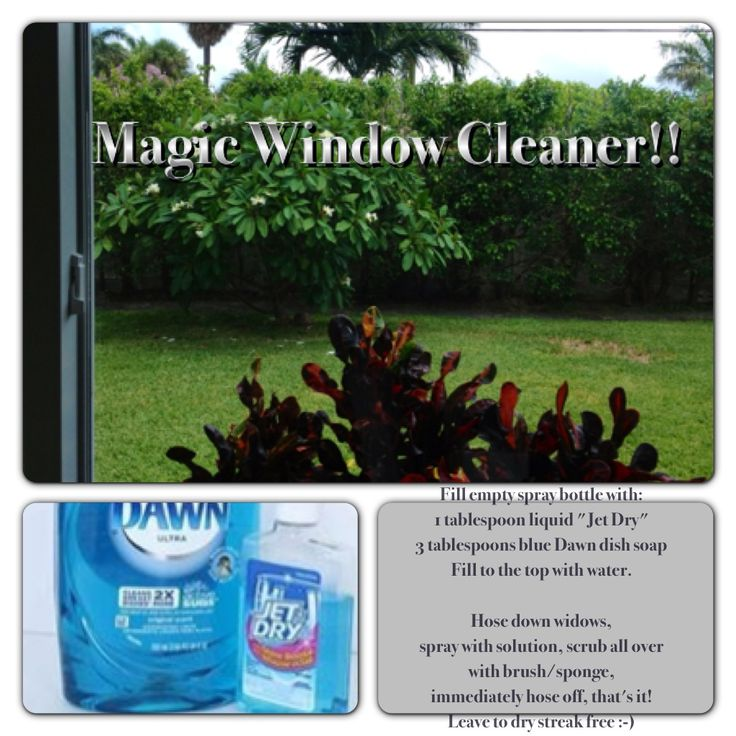 """Magic Window Cleaner!!  No towel drying, no streaks, no spots!   Fill empty spray bottle with: 1 tablespoon liquid """"Jet Dry"""" 3 tablespoons blue Dawn dish soap Fill to the top with water, shake.  Hose down widows, spray with solution, scrub all over with brush/sponge, (I use a long handled one) immediately hose off, that's it!  Leave to dry streak free!!"""