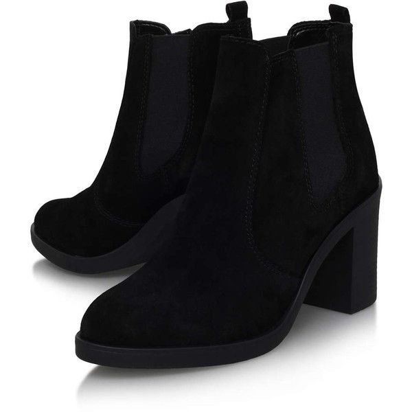 **Sicily Black High Heel Ankle Boot By Kurt Geiger - Topshop ❤ liked on Polyvore featuring shoes, boots, ankle booties, heels, topshop, short boots, black booties, black bootie, black boots and black ankle booties