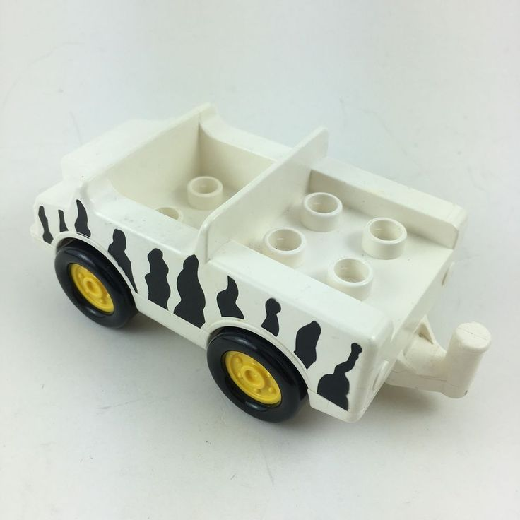 Lego Duplo Safari Zoo Car Truck Jeep Blk White Zebra Print Replacement Vehicle  #LEGO