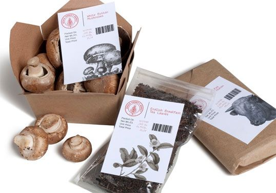 """Designed by Bert Bacchus   Country: United States of America """"The Dekalb Farmer's Market is a loud, bustling epicenter of all things related to eating. I wanted the packaging to feel like you'd visited a port of call and just had your passport stamped. The labels are designed to work with a simple dot matrix printer."""""""